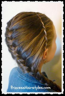Diagonal #frenchbraid and #waterfalltwist princesshairstyles.com
