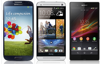 sony xperia z htc one samsung galaxy s4