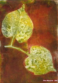 "Gina Mitsdarfer - Spring Splendor, 9"" x 12"", acrylic gelatin print on watercolor paper"