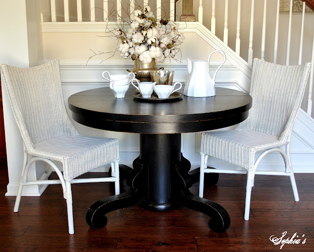 Black Painted Pedestal Table