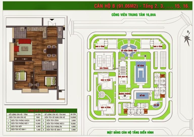 Căn B chung cư Green House Việt Hưng diện tích 91,06 m2