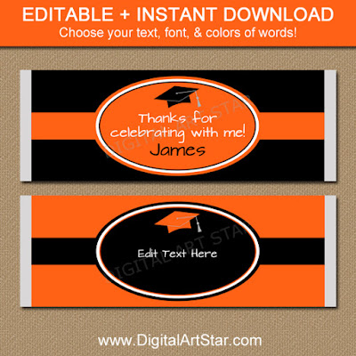 https://www.etsy.com/listing/237210859/orange-and-black-graduation-candy-bar