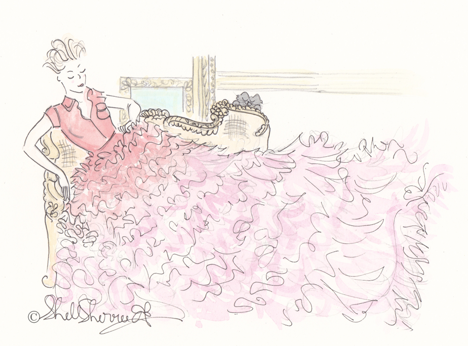 Fashionable Friday Ruffled Thrill of Chaise ink and watercolour illustration Shell-Sherree