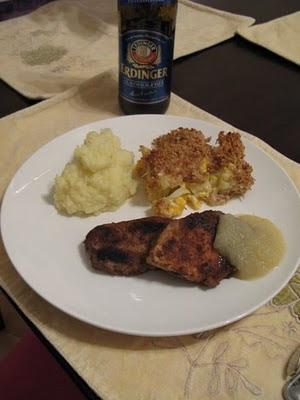 pork chops and cauliflower cheese