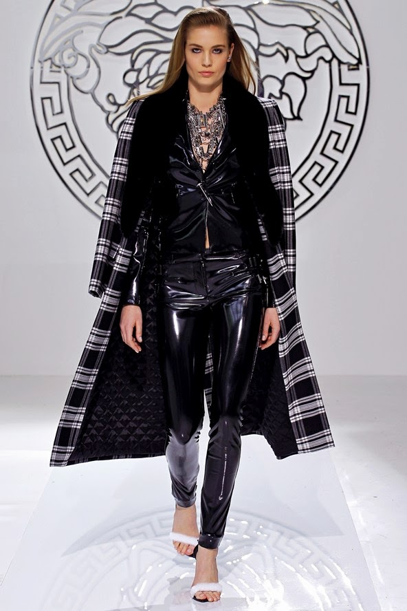 versace on a/w13 runway, versace leather outfit