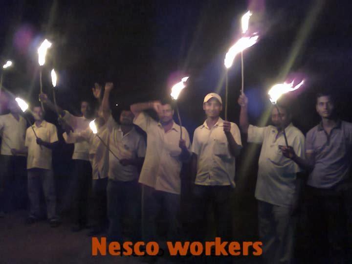 आना हजारे जि केलिए 24-08-2011 को नेसको कर्मचारी का मशाल शोभायात्रा .....