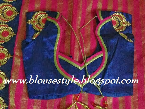 heart shape cutting and stitching designer blouse