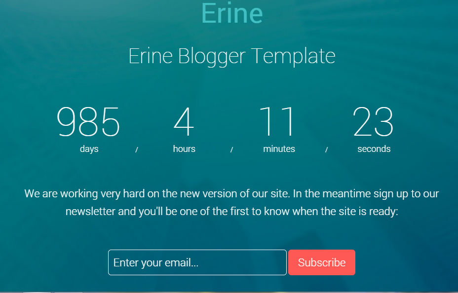 Download Erine Coming Soon Responsive Free Blogger Template