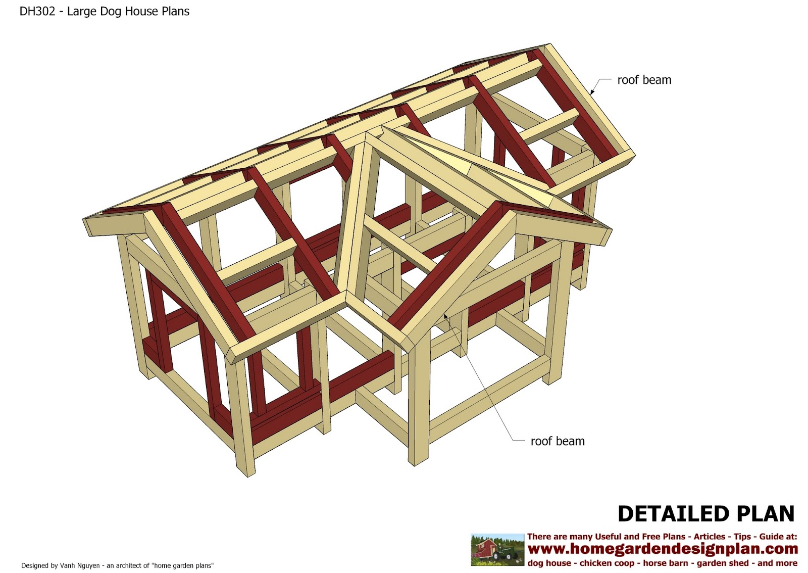 Home garden plans dh302 insulated dog house plans for Kennel construction plans