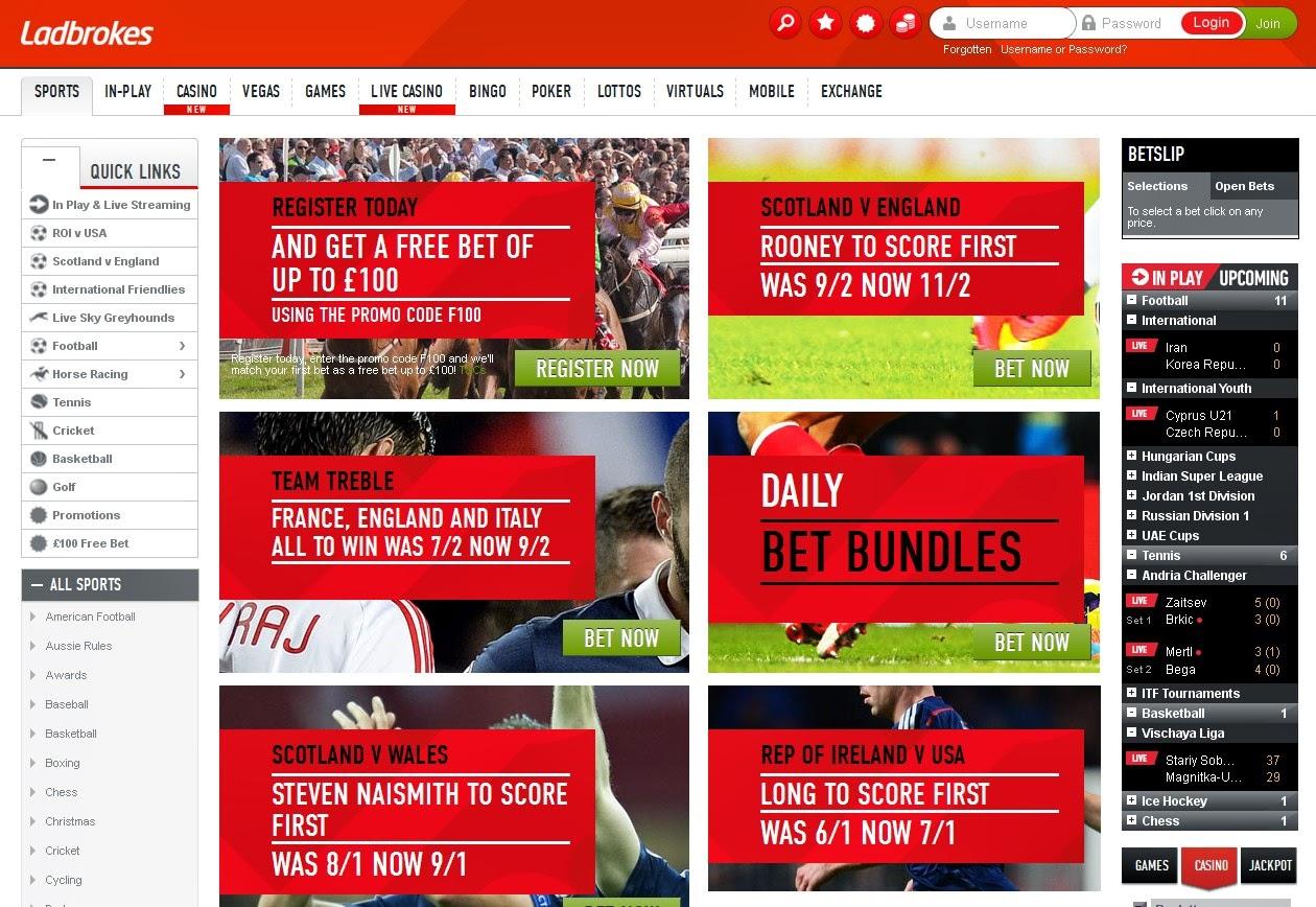Ladbrokes Bonus Promotions Screen
