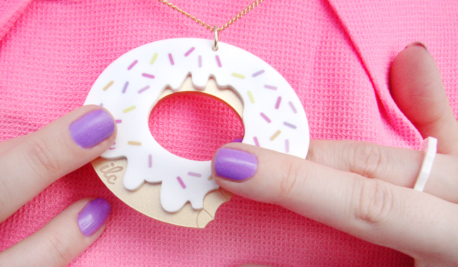 I love crafty, donut necklace, doughnut jewellery