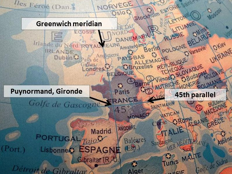 Puynormands point 45N 0 where the Greenwich meridian and the