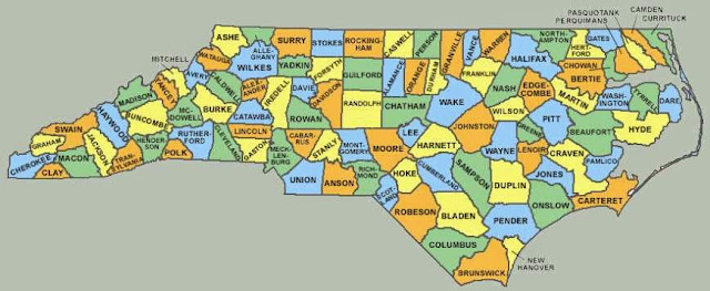 color coded county map north carolina