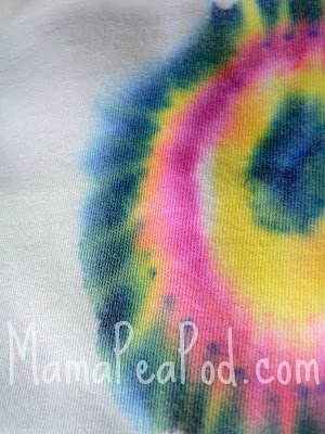 close up of sharpie marker tie-dyed shirt