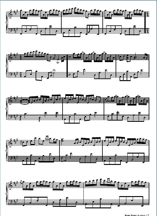 river flows in you piano music sheet pdf