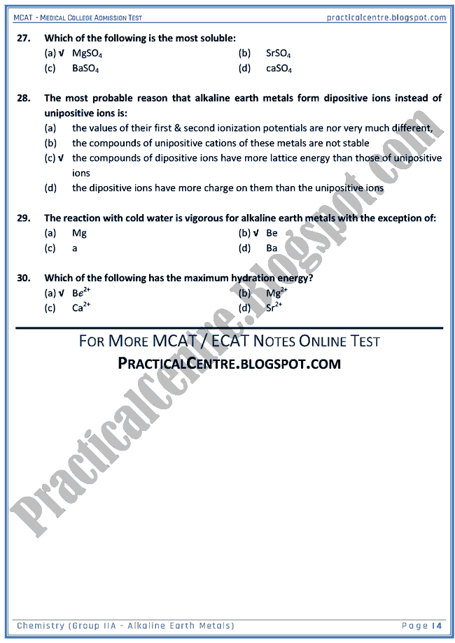 mcat-chemistry-group-iia-(alkaline-earth-metals)-mcqs-for-medical-college-admission-test