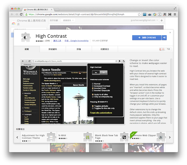 Google Chrome High Contrast 擴充功能