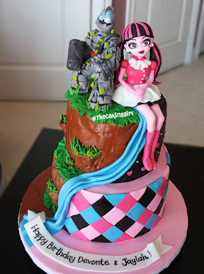 double theme cake design monster high skylander