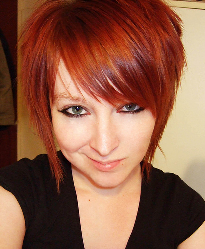 short hairstyle with red hair color