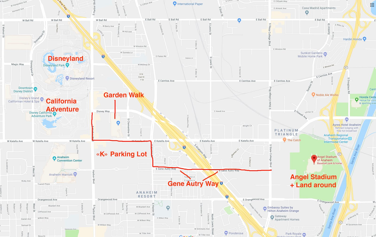 i guess you could say it runs behind toy story lot if angel stadium move all the green area you see on the map will be up for sale
