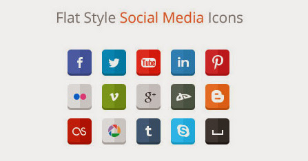 Ressources Web du Lundi #006 by Iscomigoo Webdesign: Flat Style Social Media Icons