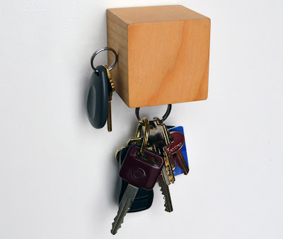 magnetic key holder; wooden cube with magnets on 3 sides and bottom