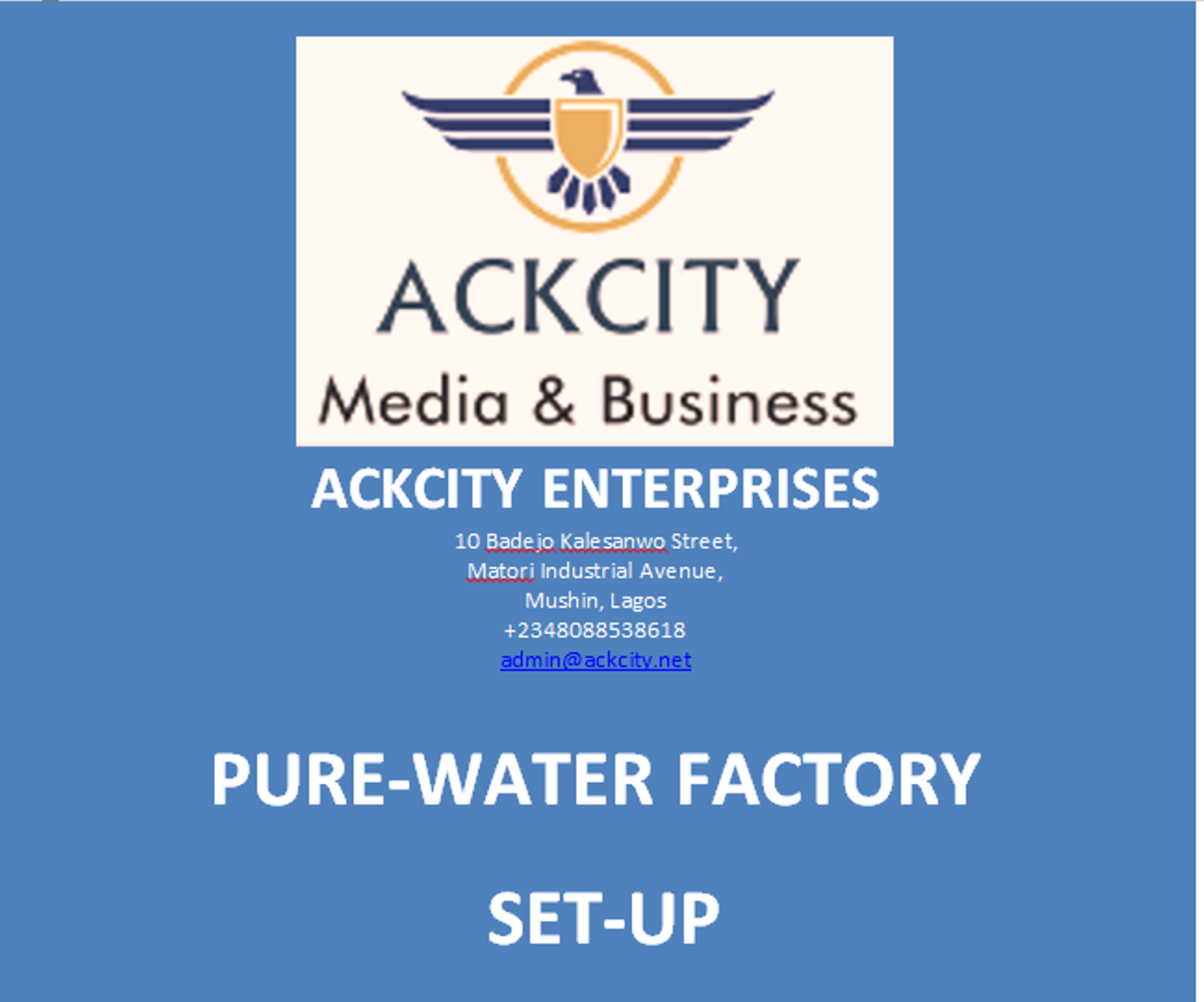Need Pure Water Factory Setup Manual?