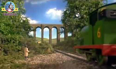 Thomas Percy the tank engine French painter near the Sodor mountain old stone railway viaduct bridge