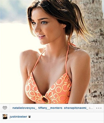 Justin Bieber uploaded a photo of Miranda Kerr on his Instagram account