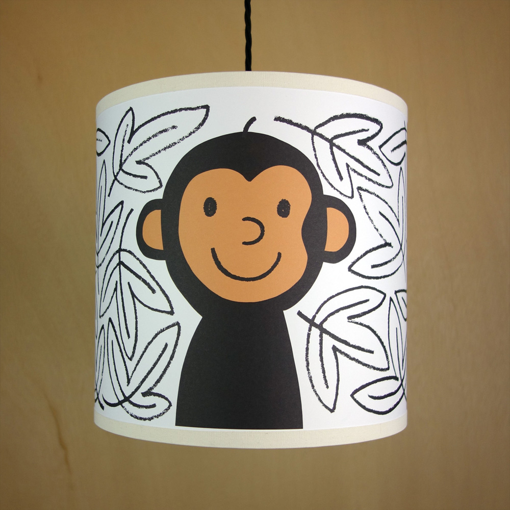 Handmade drum lampshade illustrated with monkey in the jungle