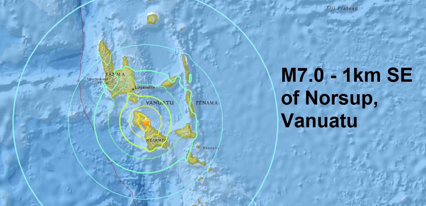 A mag 7.0 Vanuatu ( the 5th major quake to hit the small island this month): A mag 6.6 Northern Eas