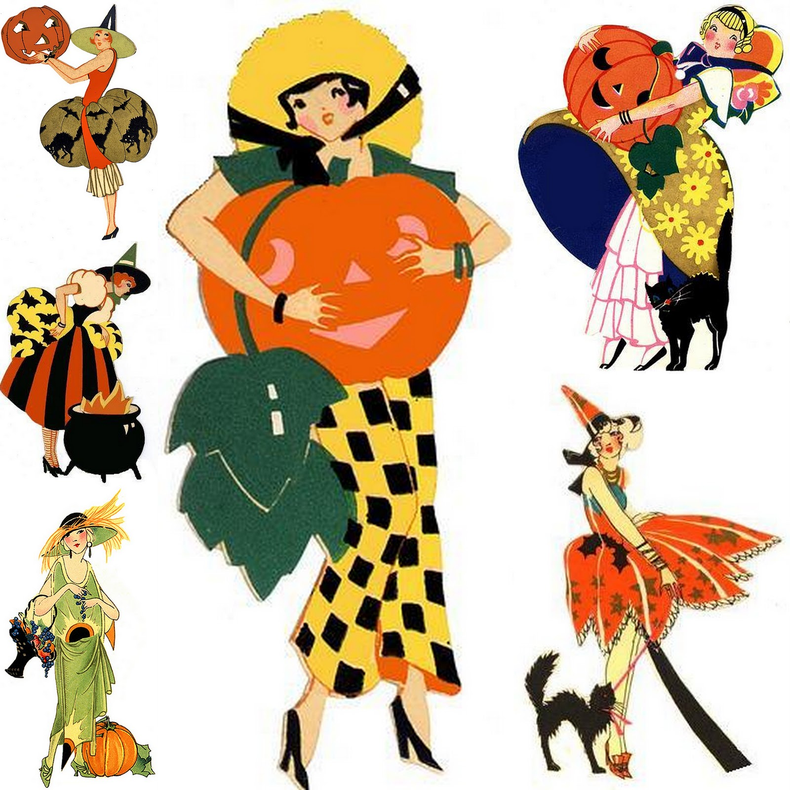 Jennuine by Rook No. 17*: Art Deco Halloween Ladies ~ Bridge Tally ...
