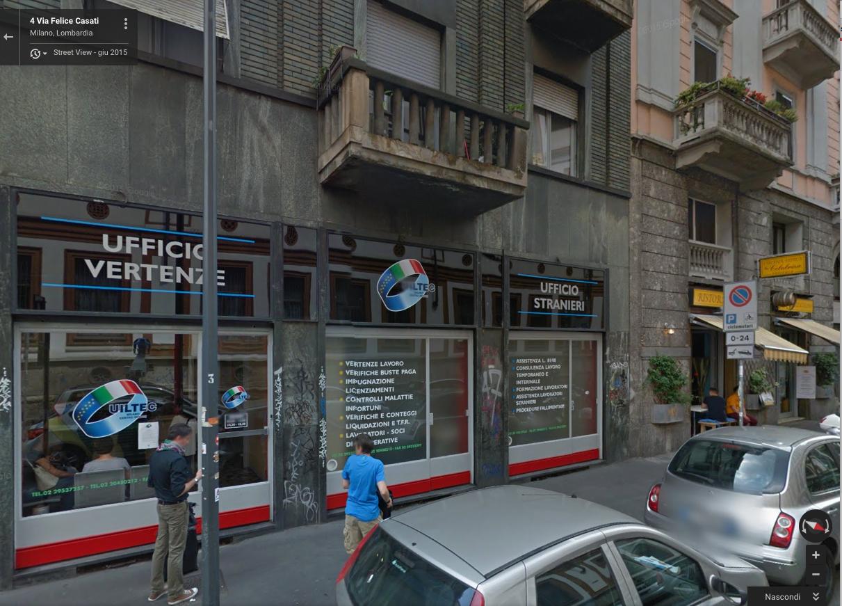 La sede dell'ufficio vertenze a Milano è in via Casati n. 3, all'angolo con corso Buenos Aires.