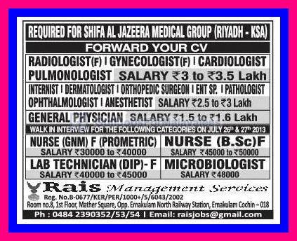 Required For Shifa Al Jazeera Medical Group Ksa Gulf