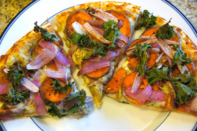 Family Food Finds: Sweet Potato Kale Pizza with Rosemary and Red Onion
