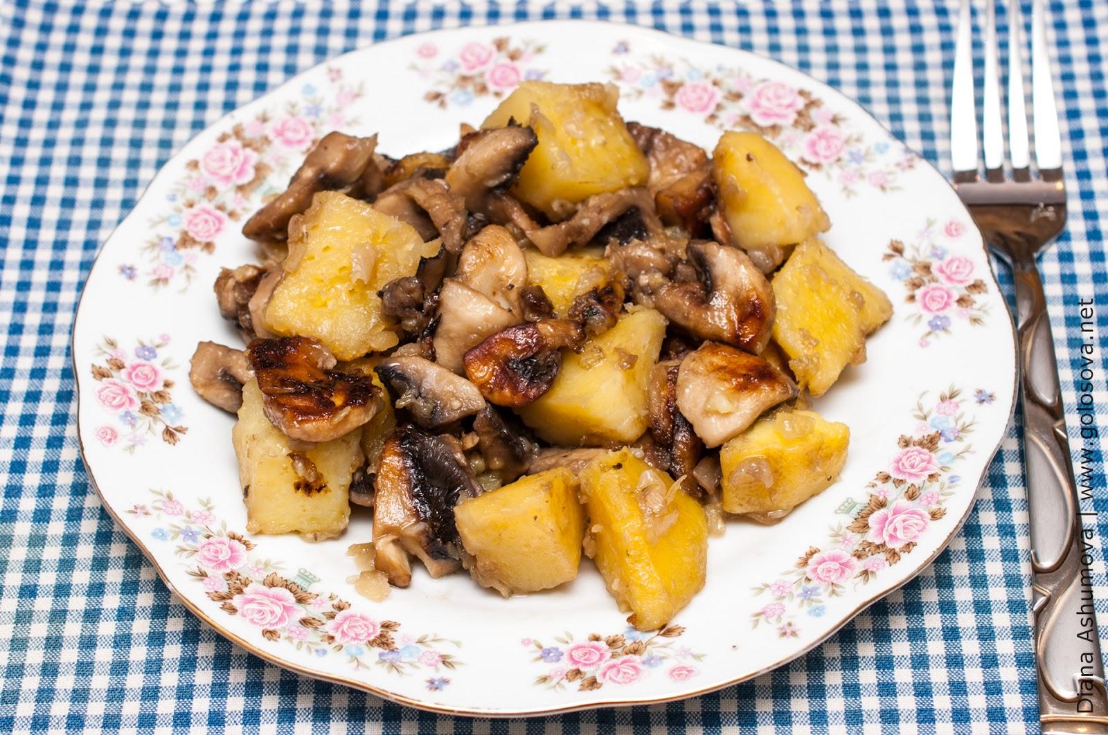 картошка с грибами рецепт на сковороде с фото