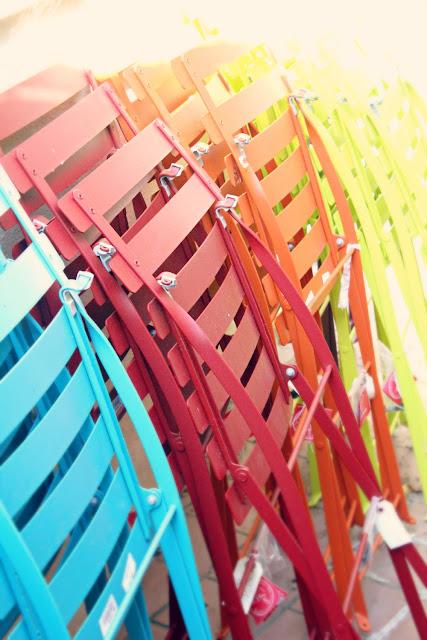 colorful rainbow chairs - catherine masi