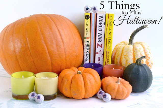 Pumpkins, candles and books with the headline 5 Things to do this Halloween.