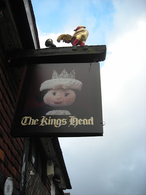 The King's Head pub sign - knitted
