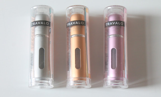 Three Travalo classic atomisers silver, gold and purple