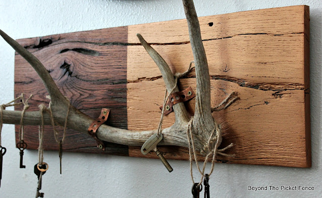 rustic chic, antler decor, rustic decor, copper paint, old keys, Valentine decor, barnwood, reclaimed wood, shedhorn, elk,