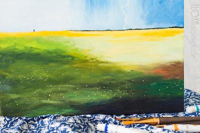 поле перед дождем, картина маслом макросъемка