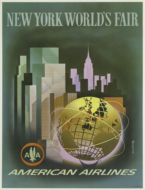 classic posters, free download, graphic design, retro prints, travel, travel posters, vintage, vintage posters, new york, New York World's Fair, American Airlines - Vintage Travel Poster