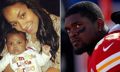 Left, an undated photo of Kasandra Michelle Perkins, Jovan Belcher's late girlfriend, with daughter Zoey Michelle Belcher. Right, Jovan Belcher of the Kansas City Chiefs watches from the sideline during his final game against the Denver Broncos at Arrowhead Stadium in Kansas City, Mo. (Nov. 25, 2012)