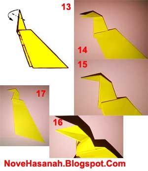 langkah-langkah akhir membuat origami burung merak untuk anak-anak yang sangat mudah