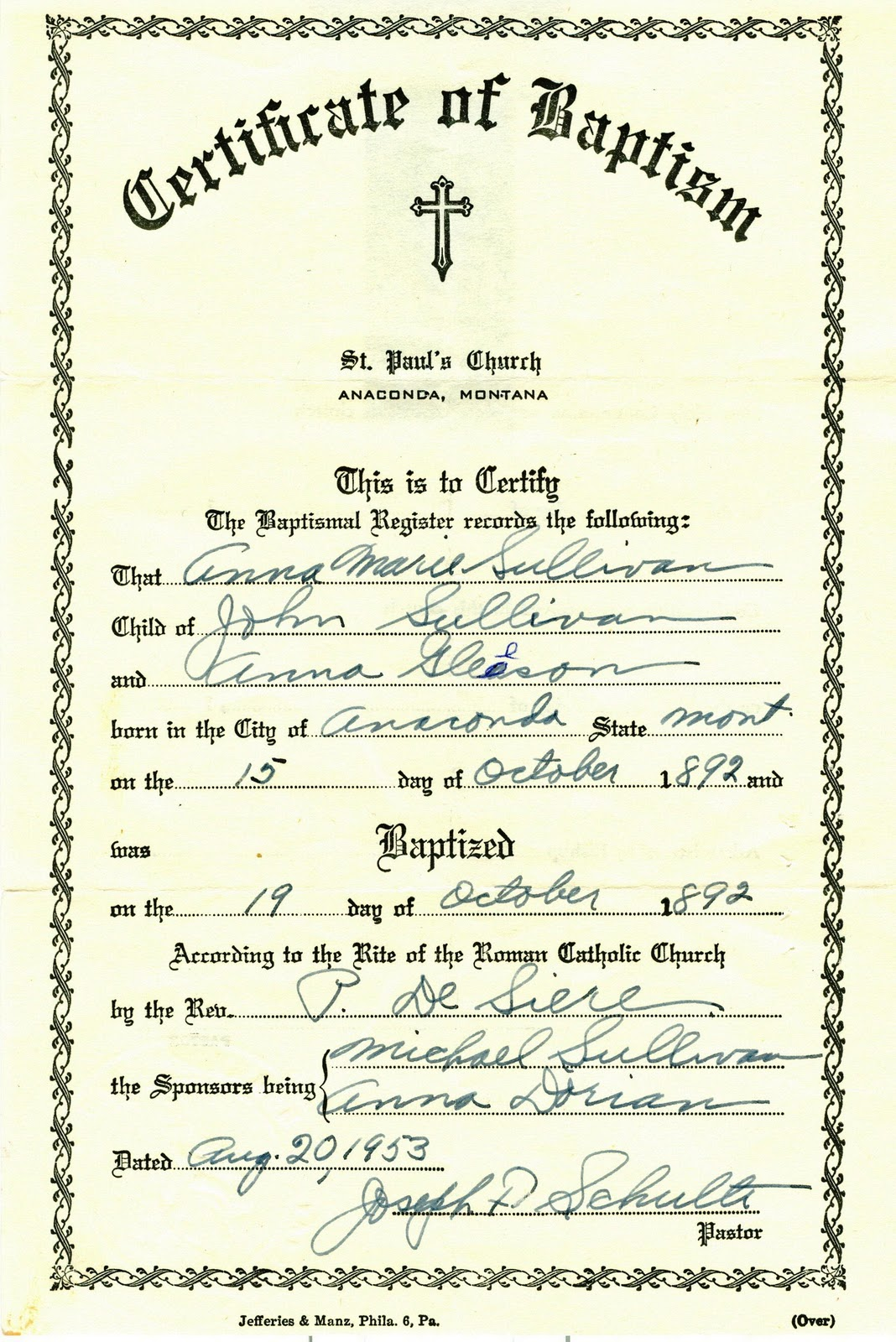 My trails into the past church record sunday baptism of anna marie sullivan for Catholic baptism certificate template