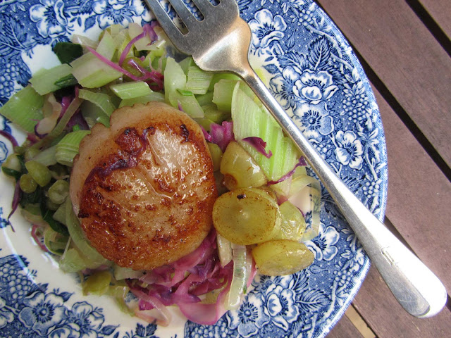 pan fried scallop on warm celery salad