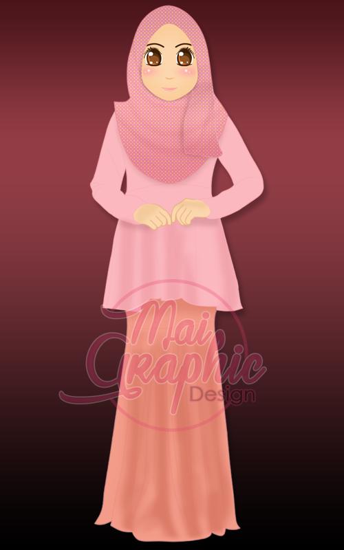 doodle muslimah, doodle comel
