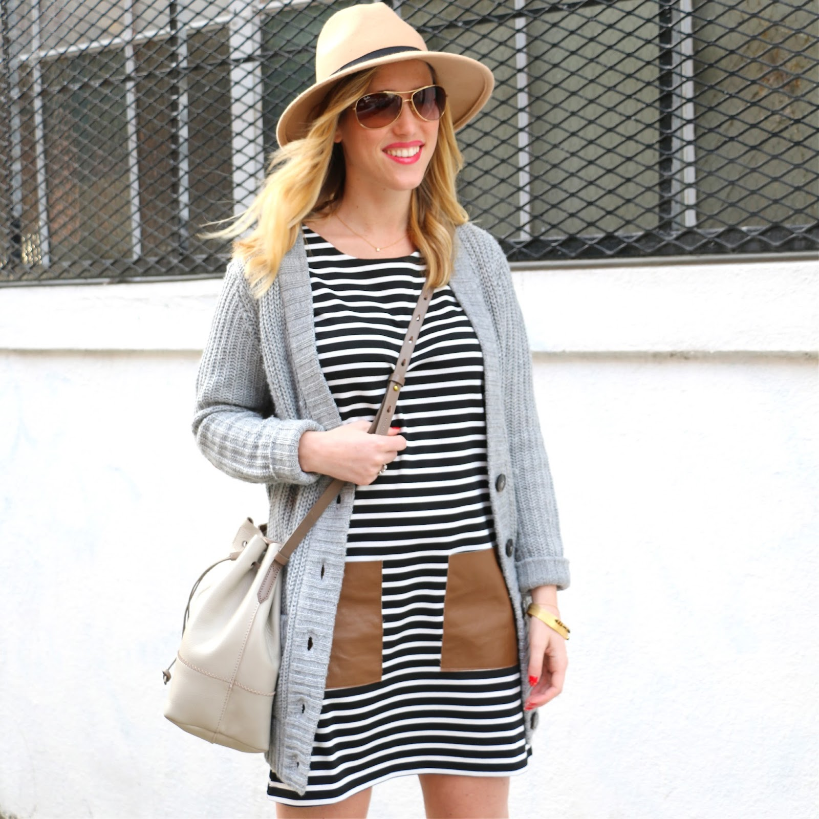 stripe dress leather pockets