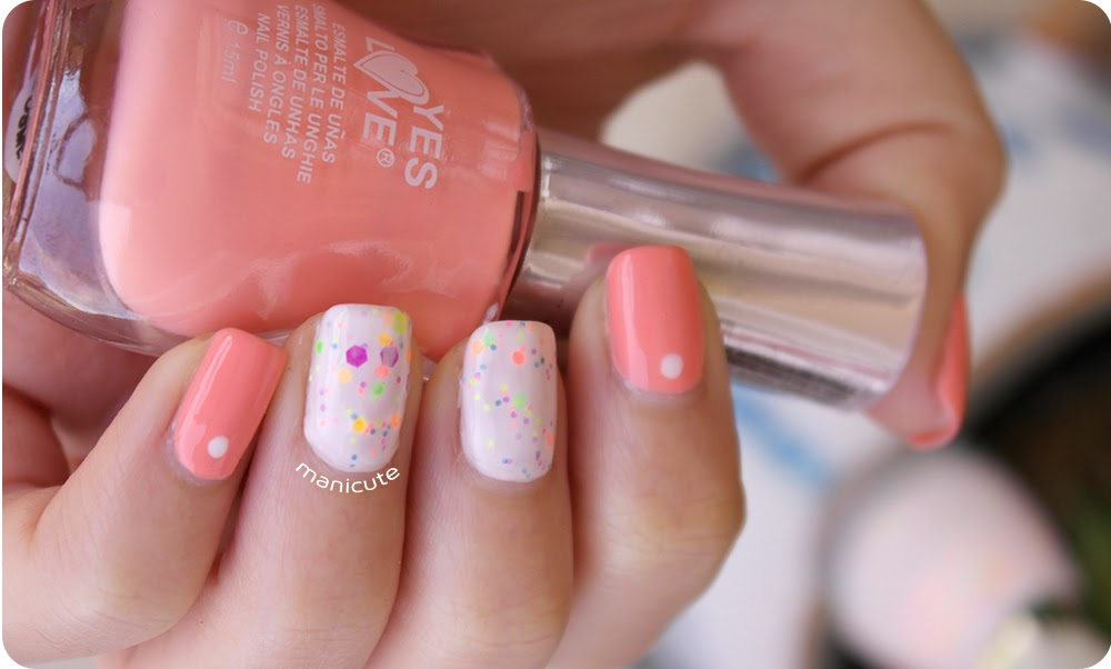 yes love neon glitter nail art